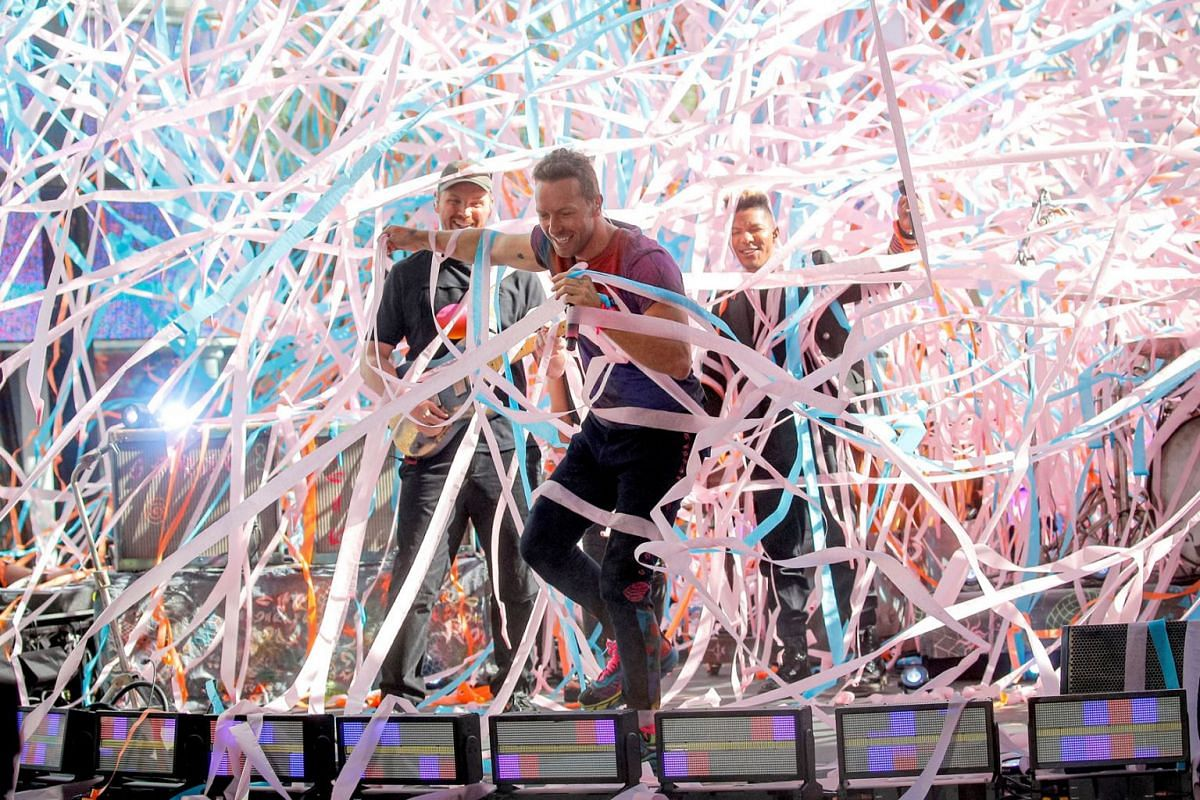 Singer Chris Martin performs with his band Coldplay on NBC's Today show in New York City, U.S., June 17, 2021.