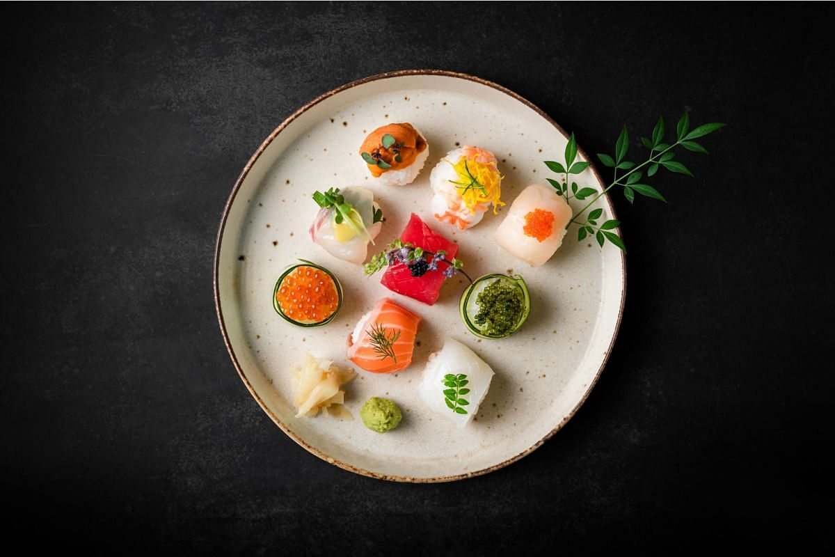 Chura Sushi Bar by En Group's menu features beautifully plated sushi options, such as this nine-piece temari sushi set.
