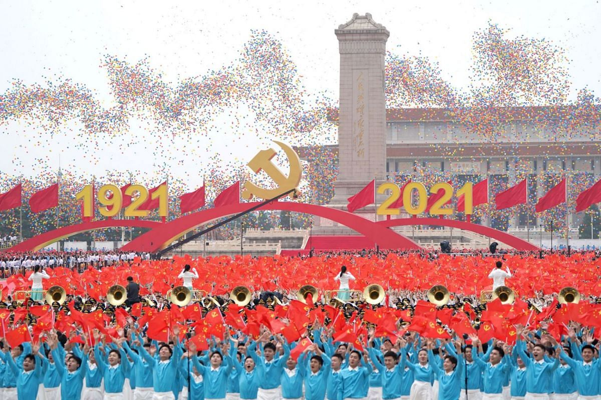 A handout photo made available by Xinhua News Agency shows balloons being released during a celebration marking the 100th founding anniversary of the Chinese Communist Party, in Beijing, China, July 1, 2021.