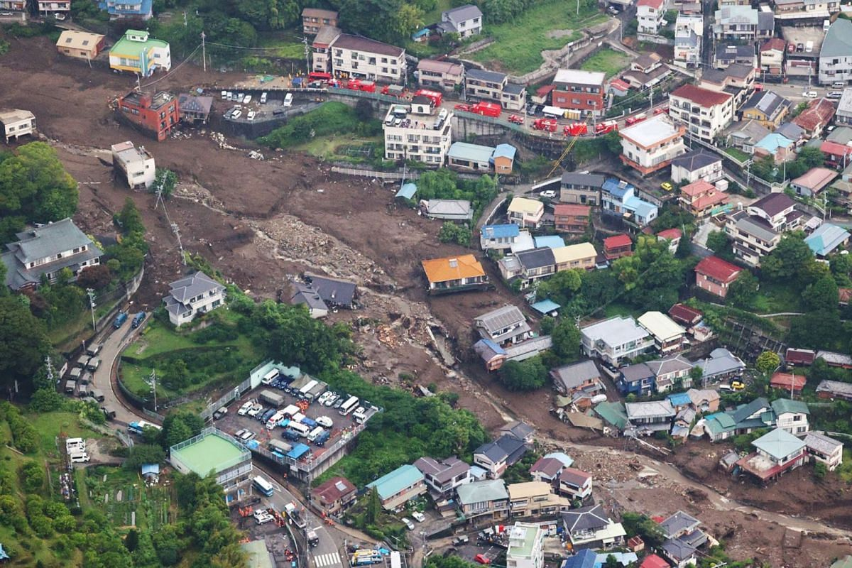 An aerial view from a Jiji Press helicopter shows the landslide site in Atami City, Shizuoka Prefecture on July 5, 2021.
