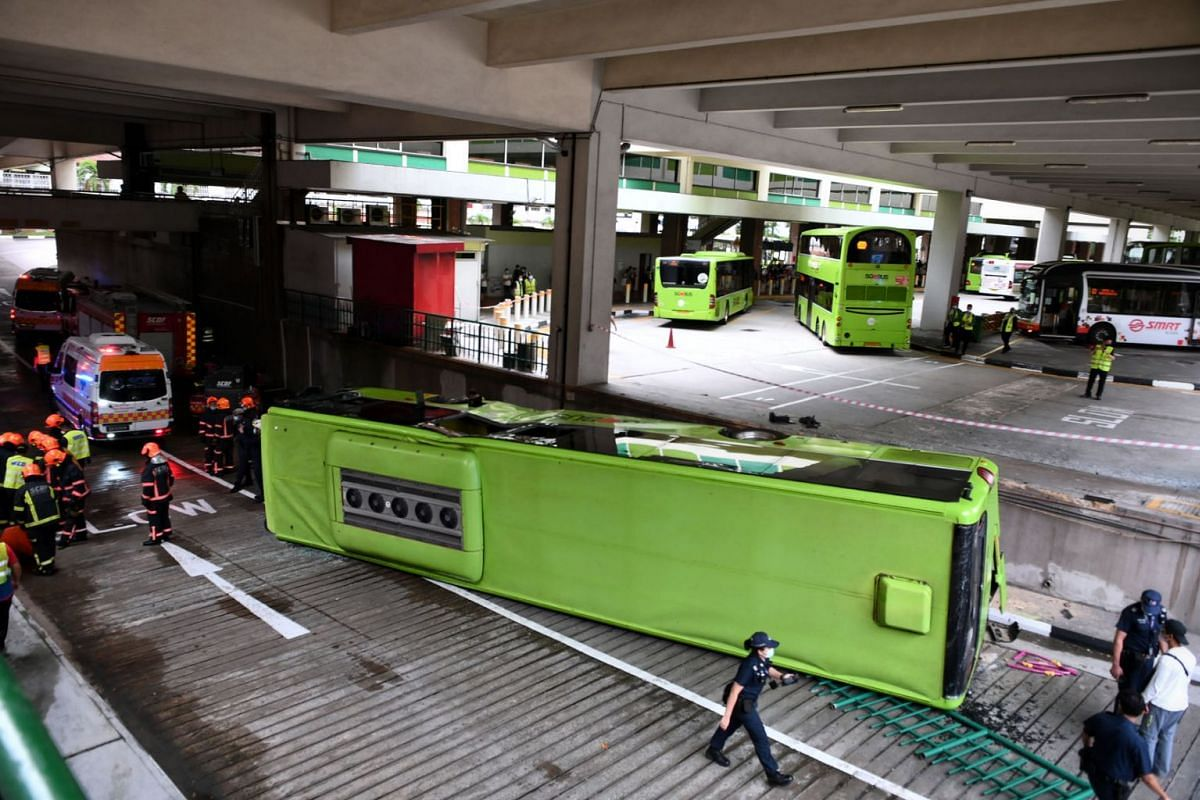 The accident is believed to have occurred when one bus was making a U-turn within the interchange and collided with the second bus.