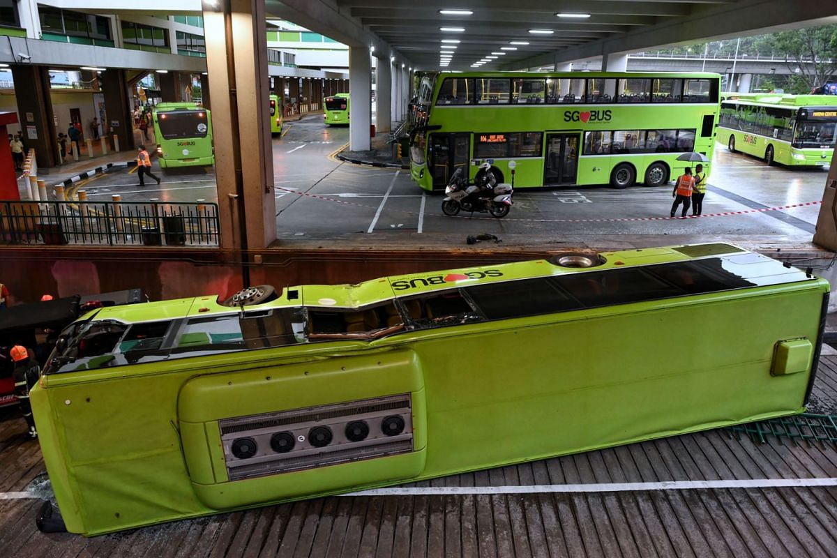 Another view of the topped bus at the Bukit Batok bus interchange on July 11, 2021.
