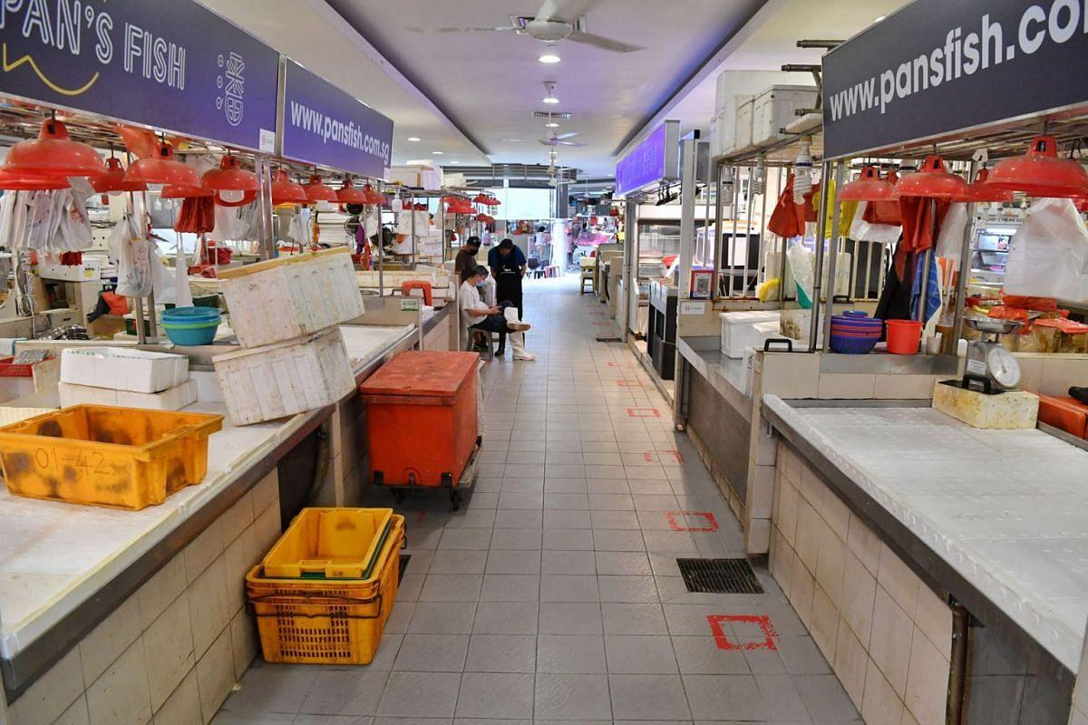 Many fish stalls at Tiong Bahru Market were closed, July 22, 2021.