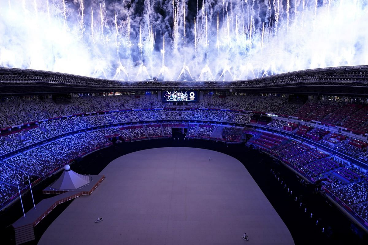 Fireworks go off during the opening ceremony.