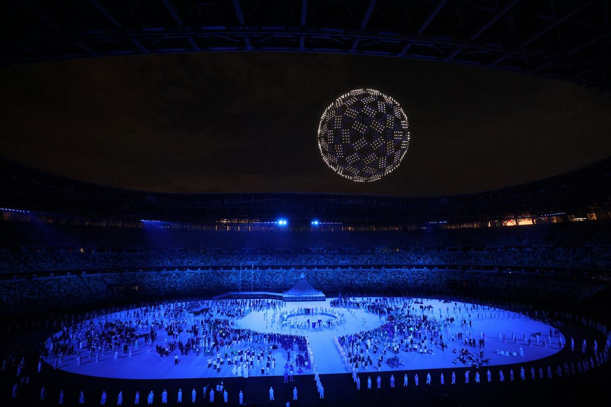 A general view inside the stadium during the opening ceremony.