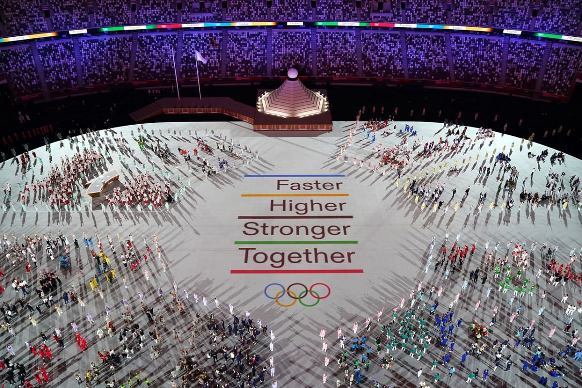 Athletes gather during the opening ceremony at the Tokyo Olympic Stadium on July 23, 2021.