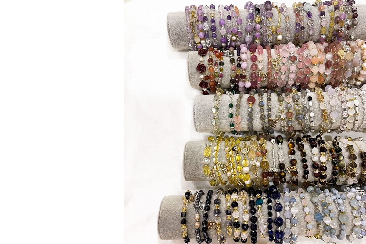 Crystal bracelets from Instagram store Komi Crystals, which hosts live sales weekly.