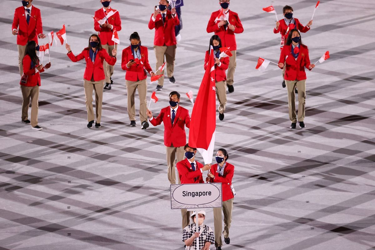 Athletes from Singapore during the opening ceremony of the Olympics on July 23, 2021.