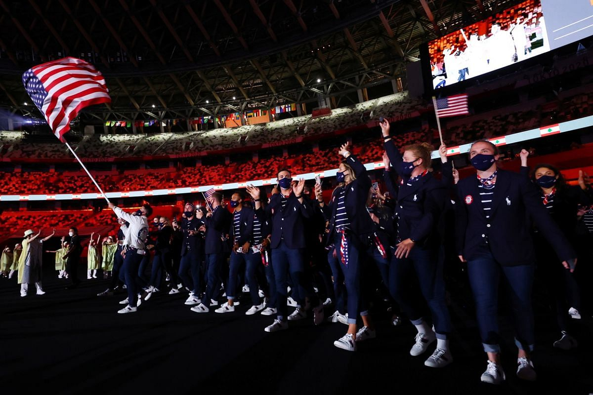 Athletes from the American contingent enter the Tokyo National Stadium during the opening ceremony on July 23, 2021.