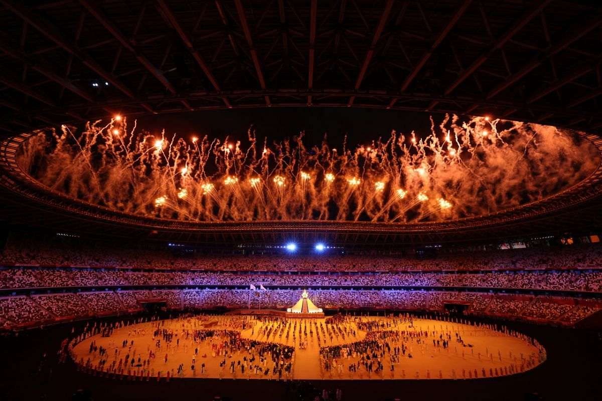 Fireworks exploding during the opening ceremony of the Tokyo 2020 Olympics on July 23, 2021.
