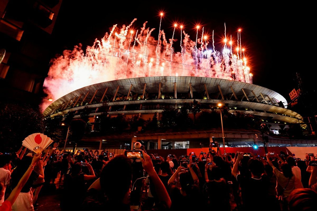 Fireworks seen from outside Tokyo Olympic Stadium during the opening ceremony on July 23, 2021.