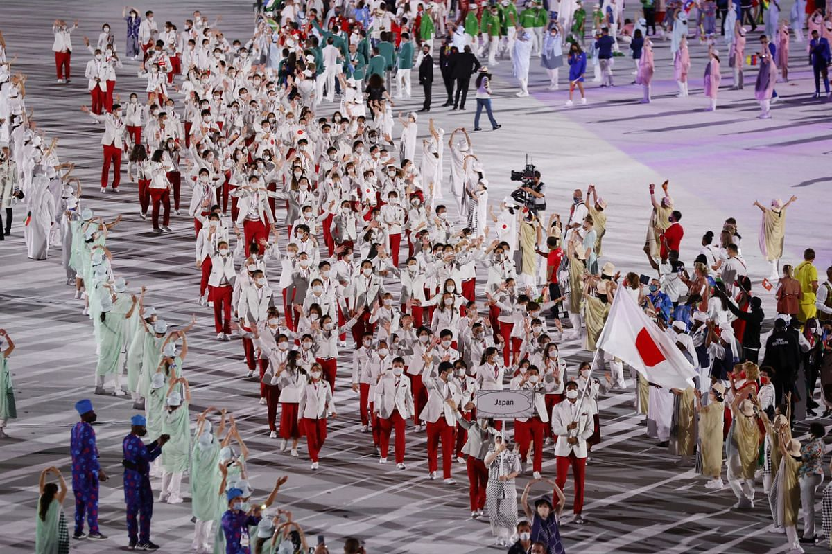 Athletes from Japan during the opening ceremony in Tokyo on July 23, 2021.