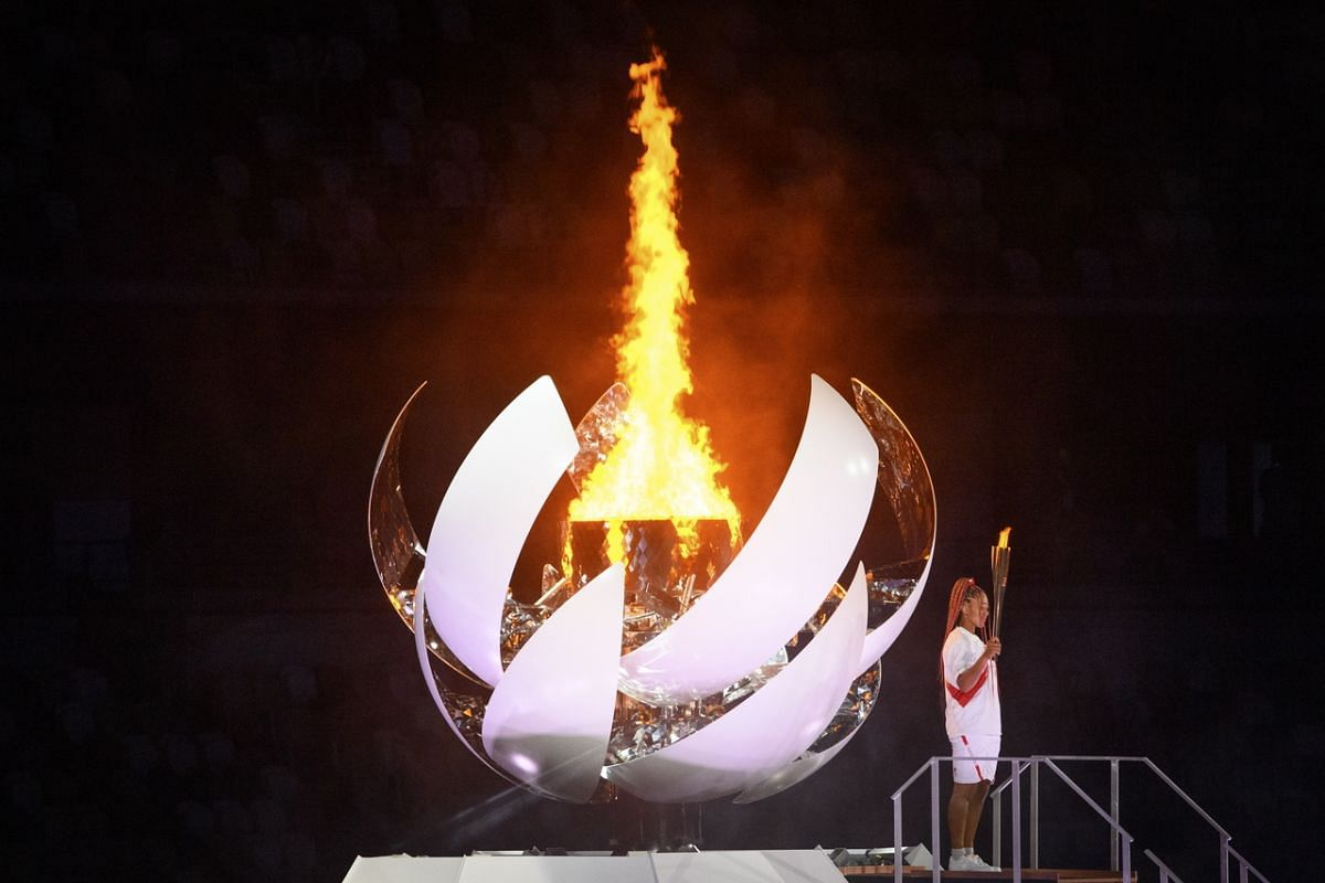 Naomi Osaka is seen after lighting the Olympic Cauldon during the opening ceremony in Tokyo on July 23, 2021.
