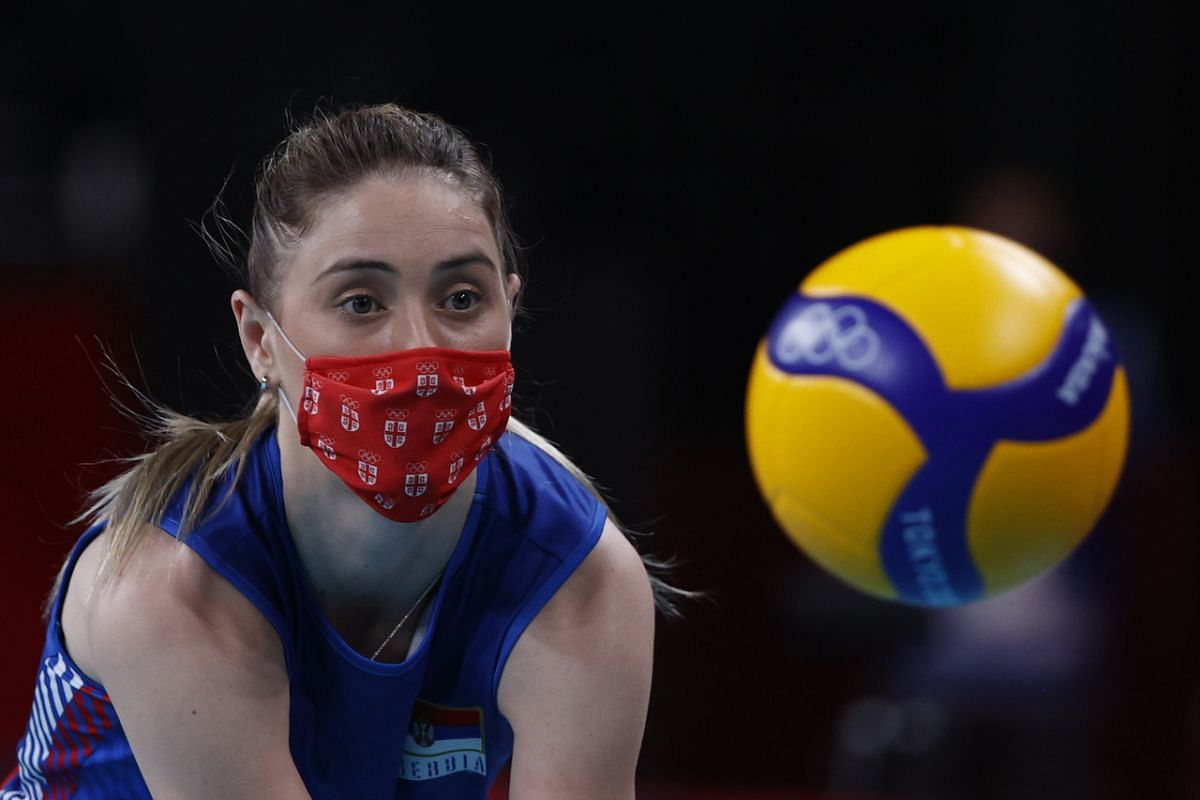 Serbian volleyballer Bianka Busa wearing a protective face mask during an interval on July 25, 2021.