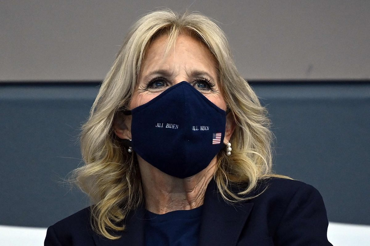 US first lady Jill Biden attends a swimming event during the Tokyo 2020 Olympic Games, on July 24, 2021.