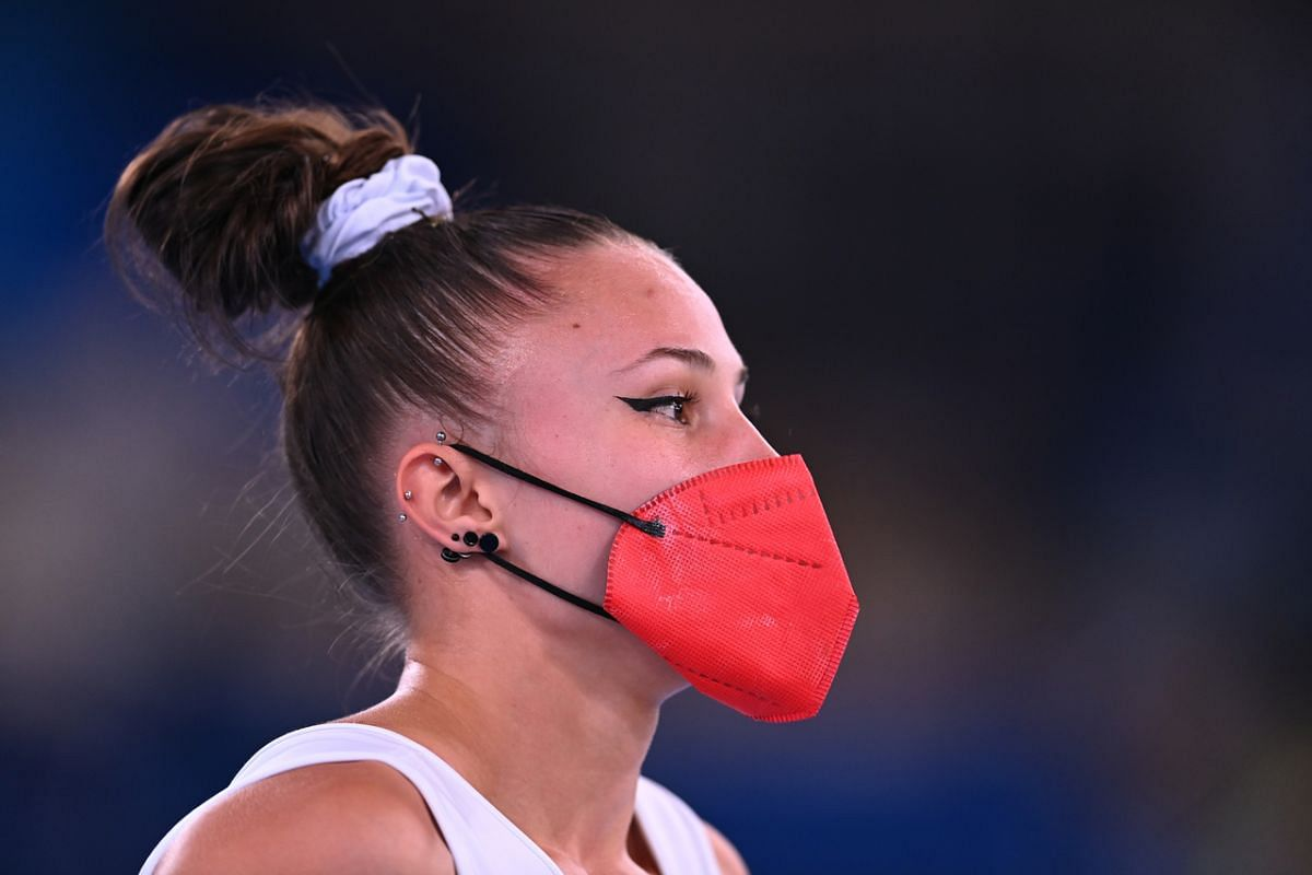 Spanish gymnast Roxana Popa wearing a protective face mask during training on July 22, 2021.