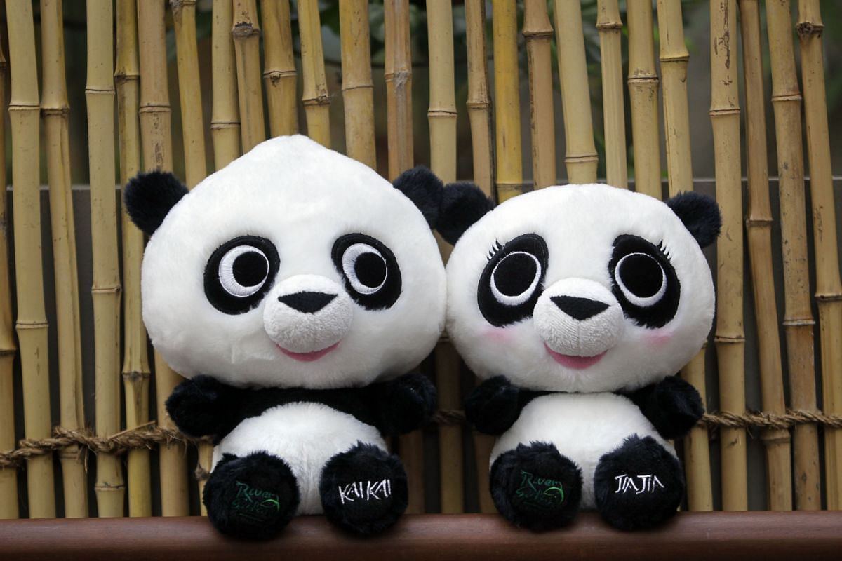 To commemorate the arrival of Kai Kai and Jia Jia on Sept 6, 2012, some companies created panda-inspired memorabilia like these plush toys.