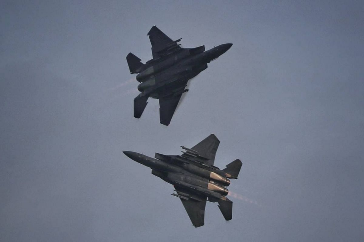 """F-15SGs executing """"the shackle"""" during the aerial display at the parade on Aug 21, 2021."""