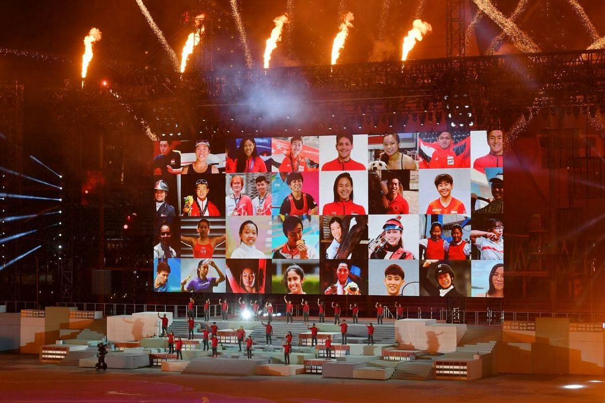 Singapore's athletes taking the stage at the parade on Aug 21, 2021.