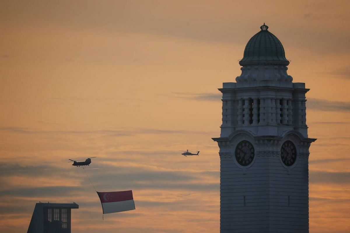 State flag fly-past by Victoria Concert Hall on Aug 21, 2021.
