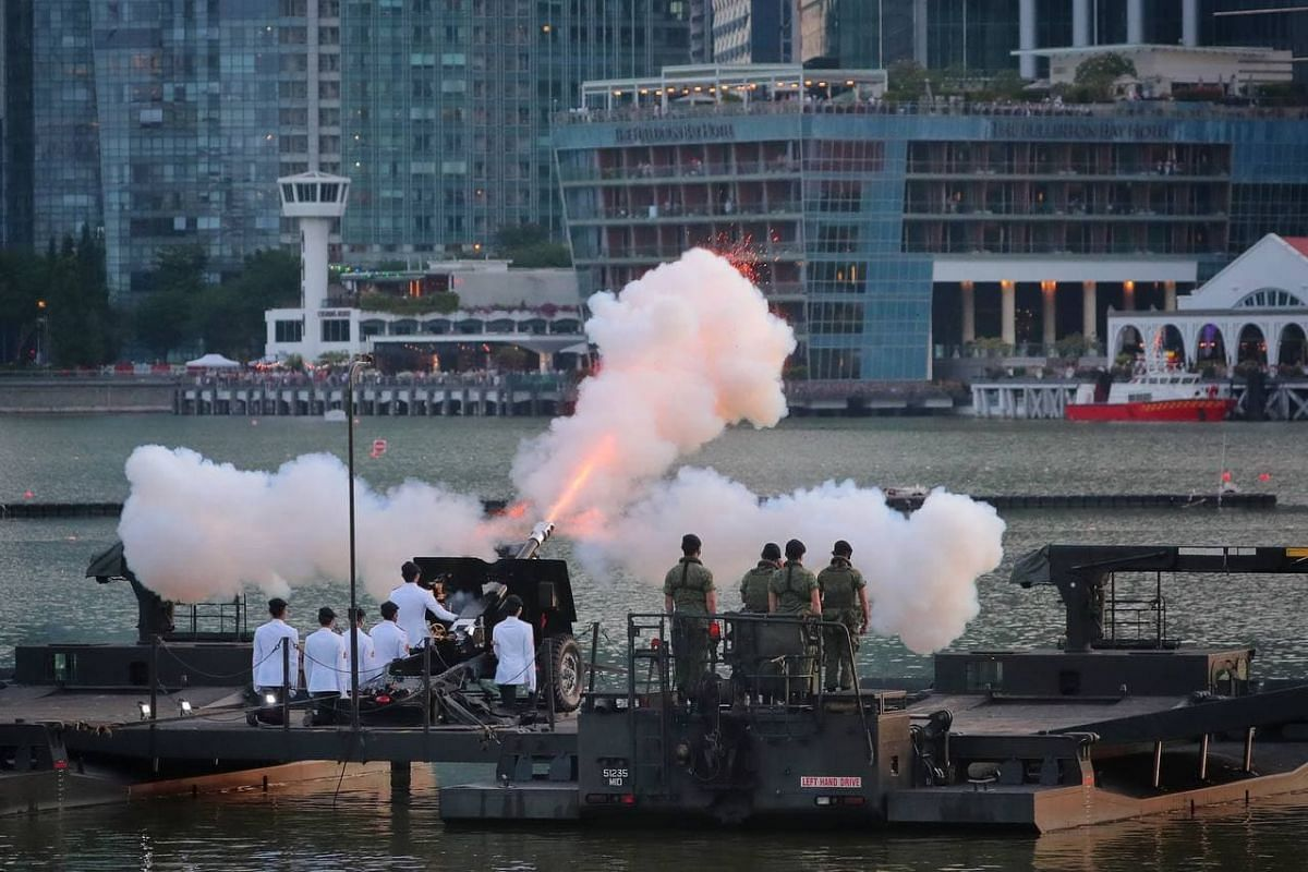 The 21-gun salute during the parade on Aug 21, 2021.