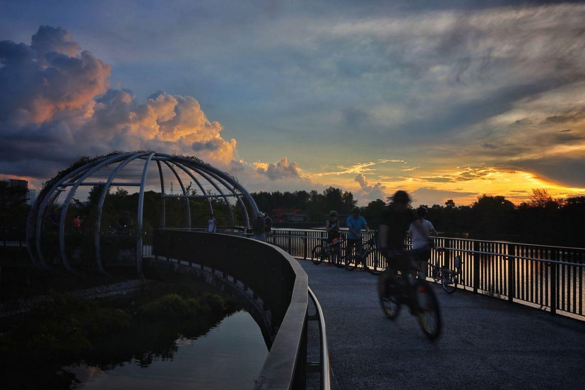 Sunset at the Jewel Bridge at Punggol Waterway Park on Aug 16, 2021.
