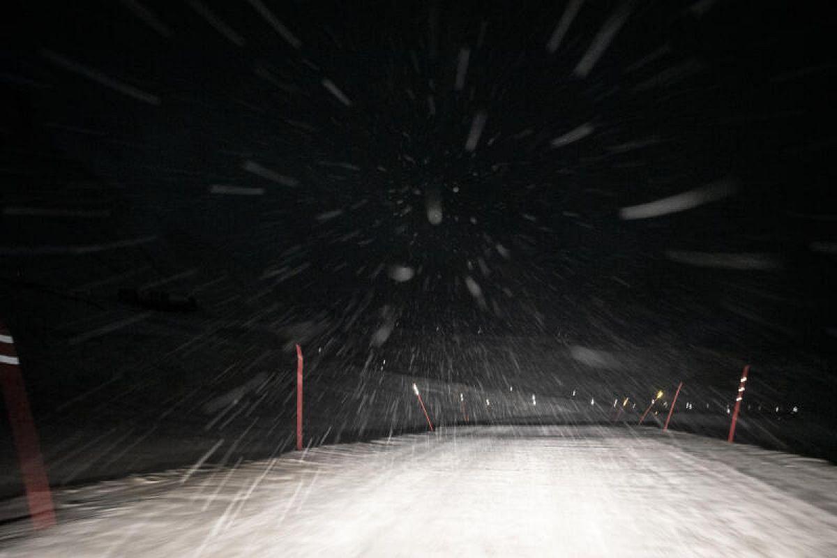 Driving during heavy snowfall in Longyearbyen on Feb 2, 2020.