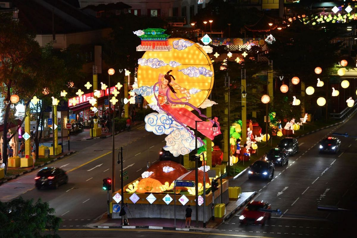 Chinatown is all decked out for the Mid-Autumn Festival, aglow with 900 lanterns and a towering centrepiece of Chang'e, the Chinese goddess of the moon, as seen in a photo taken on September 7, 2021.