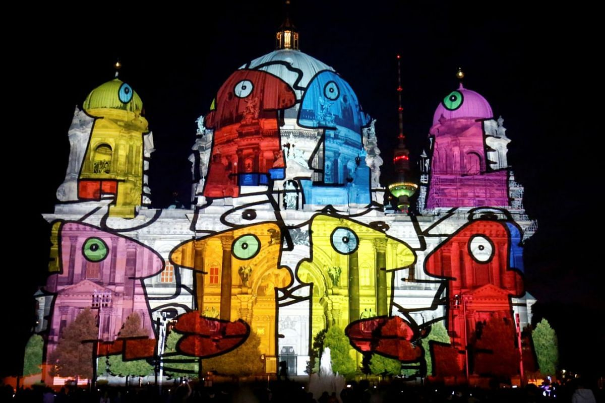 The Berlin Cathedral (Berliner Dom) is illuminated during the Festival of Lights show in Berlin, Germany, September 3, 2021.