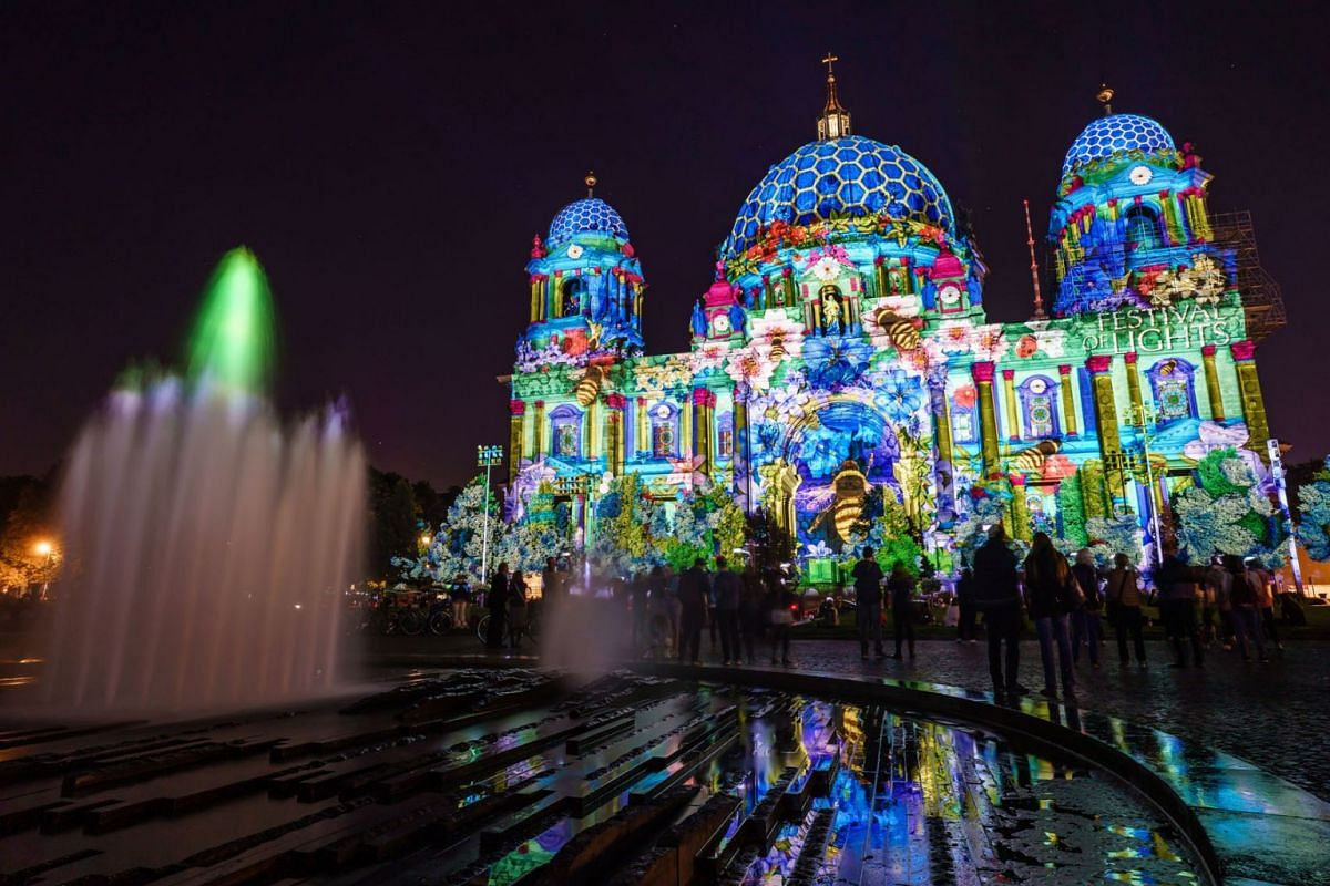 The Berlin Cathedral is illuminated during the Festival of Lights in Berlin, Germany, September 3, 2021.
