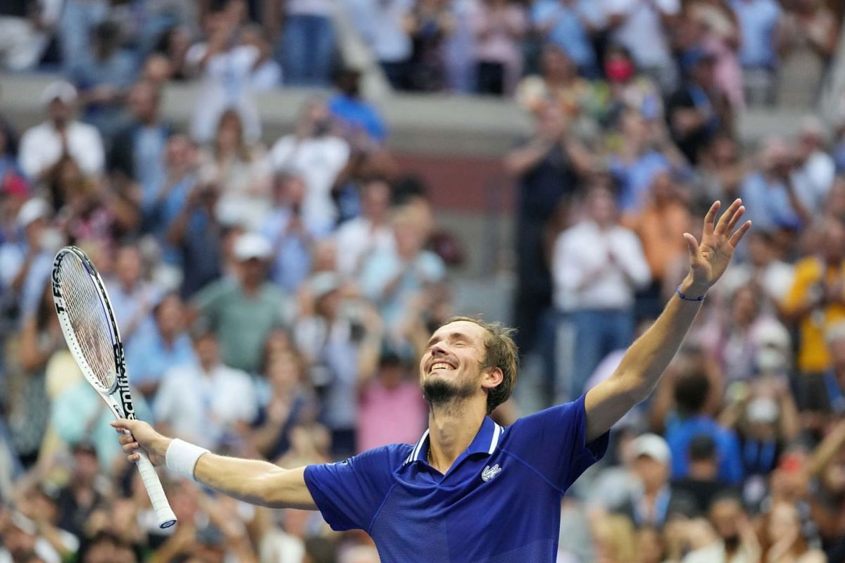 Daniil Medvedev of Russia celebrates after winning his match against Novak Djokovic of Serbia (not pictured) in the men's singles final on day fourteen of the 2021 U.S. Open tennis tournament at USTA Billie Jean King National Tennis Center.