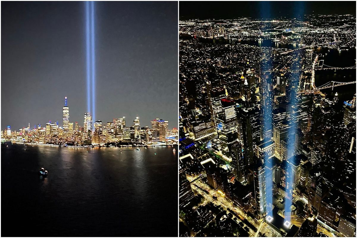 The two beams signify the twin towers that were destroyed.