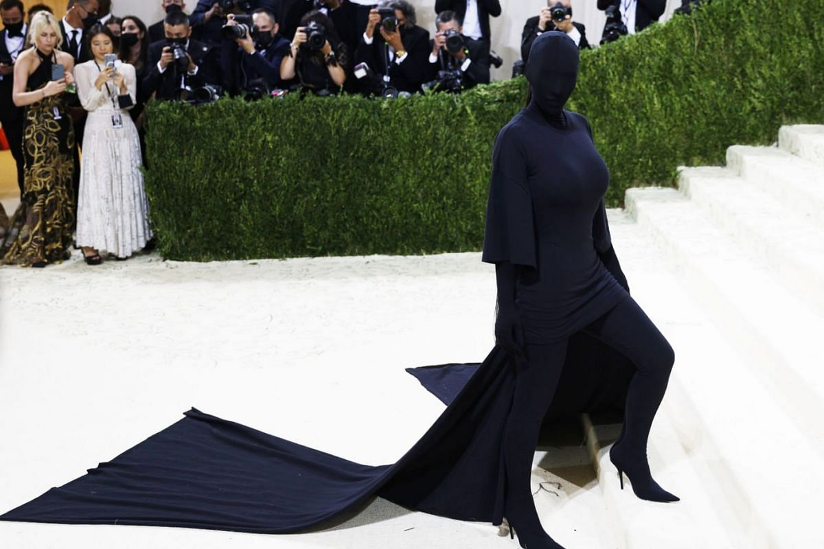 Kim Kardashian poses on the red carpet for the 2021 Met Gala, the annual benefit for the Metropolitan Museum of Art's Costume Institute, in New York, New York, USA, Sept. 13, 2021.