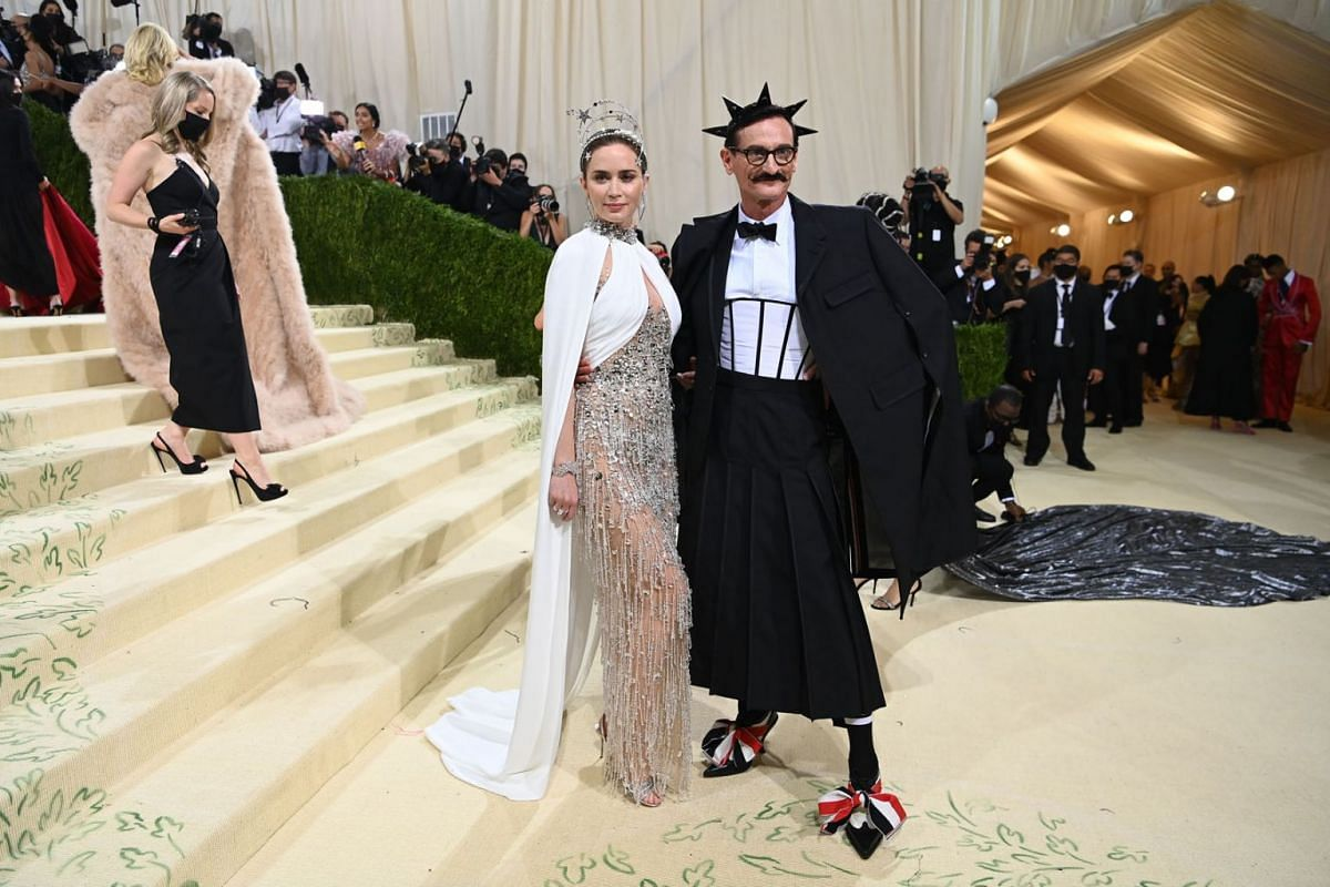 Emily Blunt and Hamish Bowles at the Metropolitan Museum of Art's Costume Institute benefit gala in New York, Sept. 13, 2021.