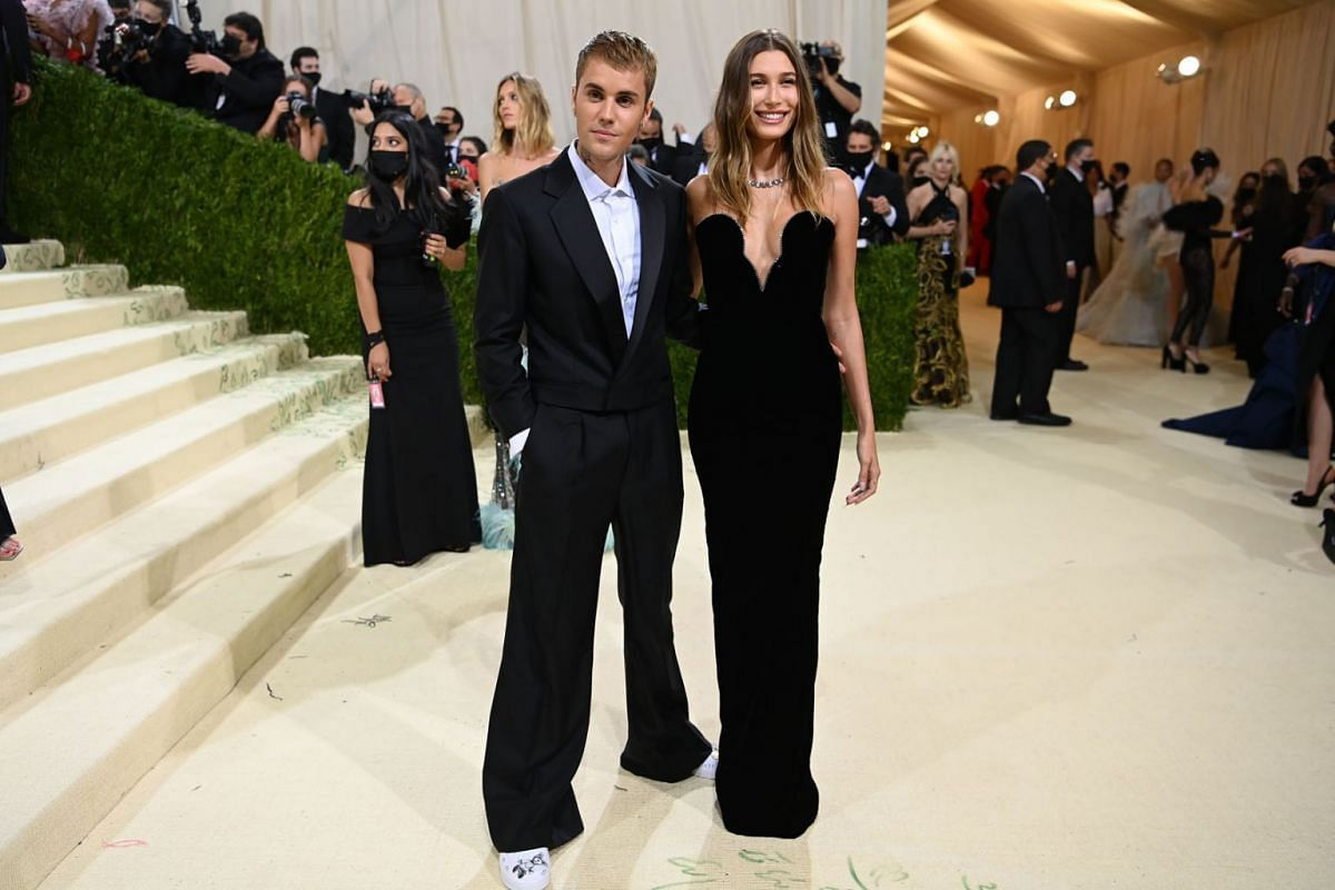Justin and Hailey Bieber at the Metropolitan Museum of Art's Costume Institute benefit gala in New York, Sept. 13, 2021.