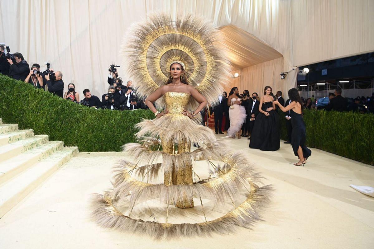 Iman at the Metropolitan Museum of Art's Costume Institute benefit gala in New York, Sept. 13, 2021.