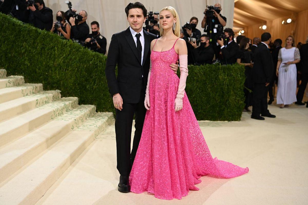 Brooklyn Beckham and Nicola Peltz at the Metropolitan Museum of Art's Costume Institute benefit gala in New York, Sept. 13, 2021.