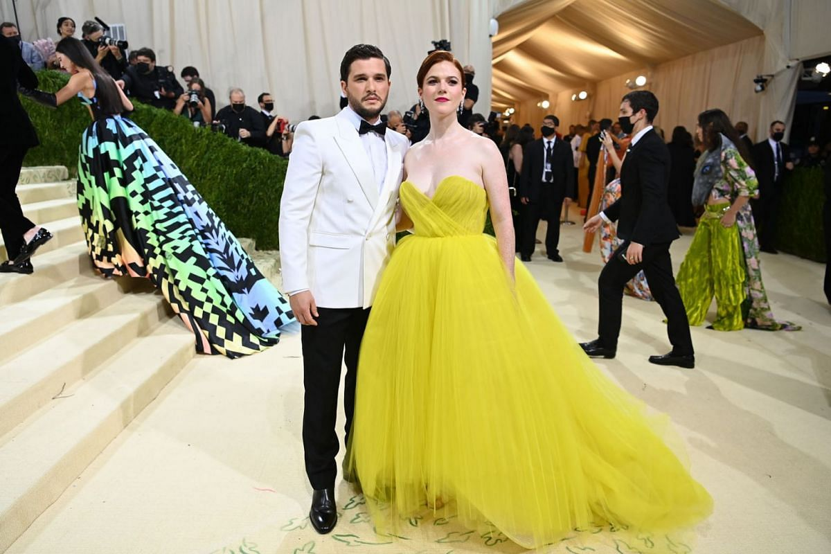 Kit Harington and Rose Leslie at the Metropolitan Museum of Art's Costume Institute benefit gala in New York, Sept. 13, 2021.