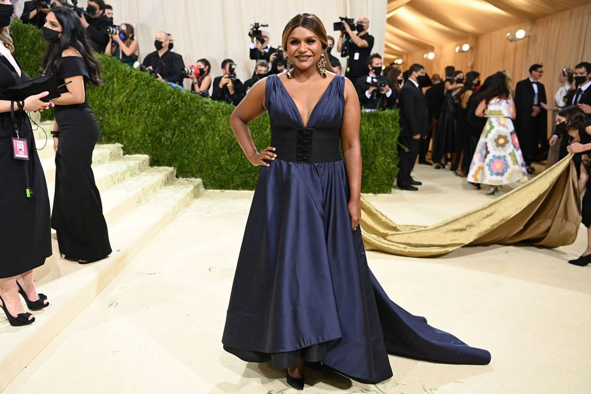 Mindy Kaling at the Metropolitan Museum of Art's Costume Institute benefit gala in New York, Sept. 13, 2021.