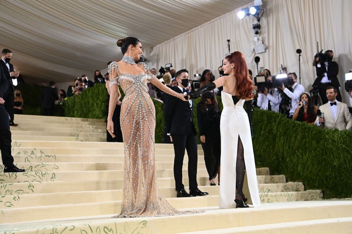 Kendall Jenner, left, and Gigi Hadid at the Metropolitan Museum of Art's Costume Institute benefit gala in New York, Sept. 13, 2021.