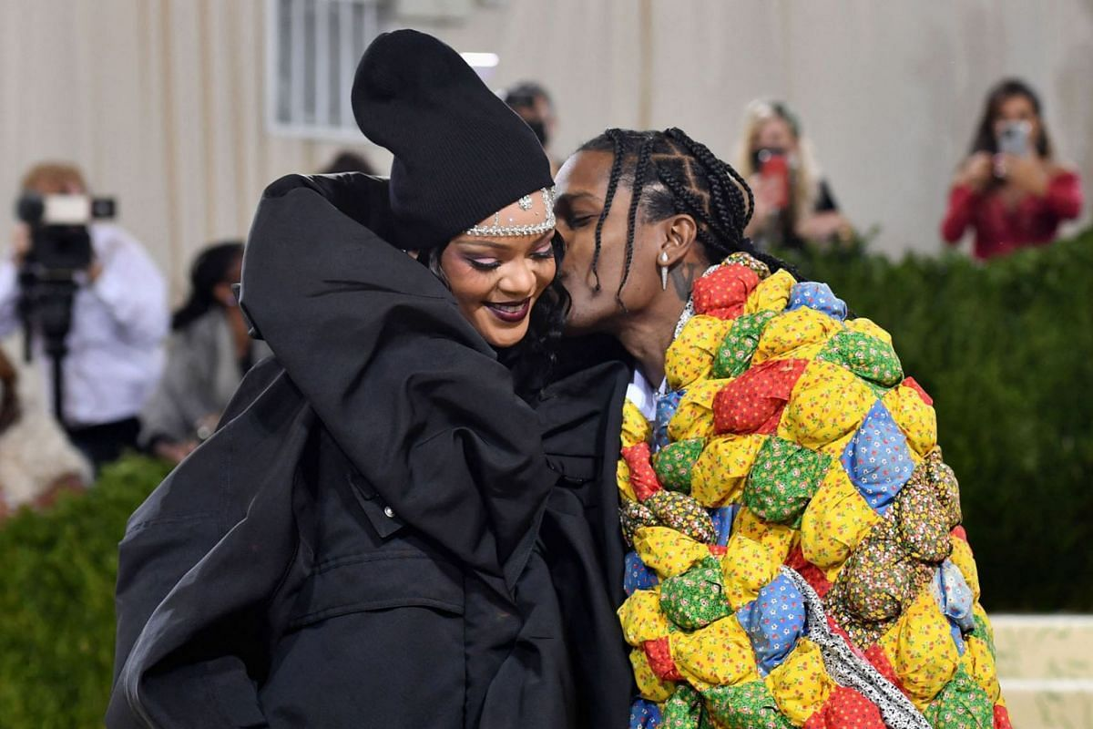 Barbadian singer Rihanna and US rapper A$AP Rocky arrive for the 2021 Met Gala at the Metropolitan Museum of Art on Sept. 13, 2021 in New York.