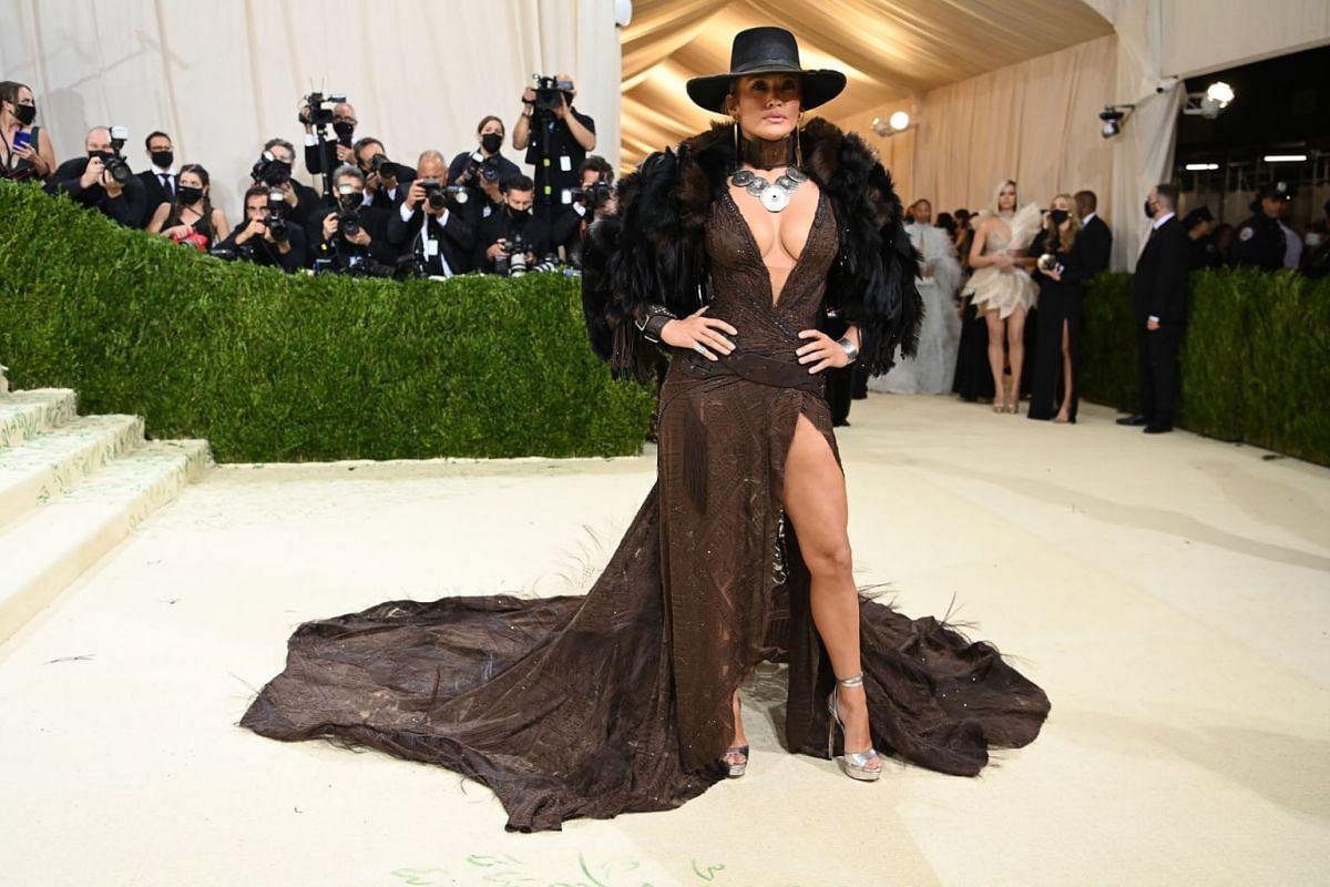 Jennifer Lopez at the Metropolitan Museum of Art's Costume Institute benefit gala in New York, Sept. 13, 2021.