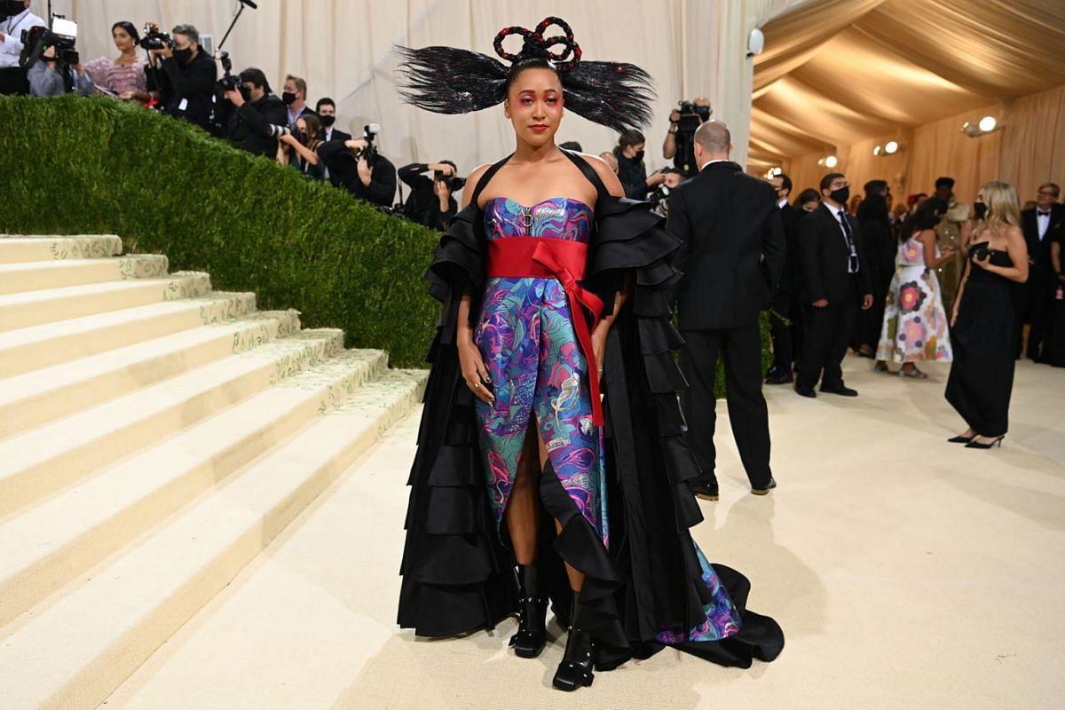 Naomi Osaka at the Metropolitan Museum of Art's Costume Institute benefit gala in New York, Sept. 13, 2021.