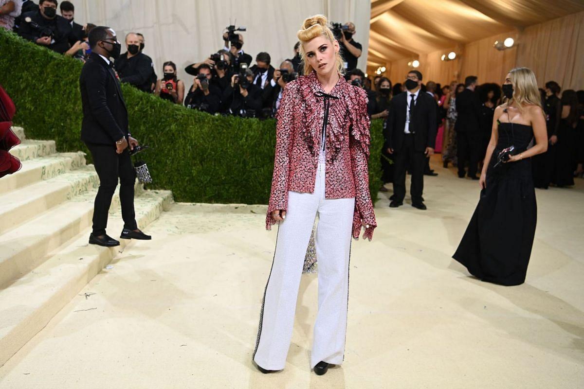 Kristen Stewart at the Metropolitan Museum of Art's Costume Institute benefit gala in New York, Sept. 13, 2021.