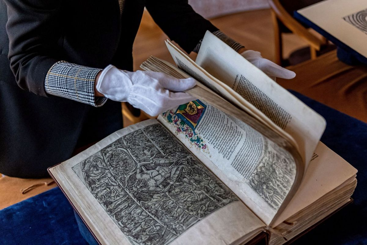 Presentation of the oldest illustrated edition of Dante Alighieri's 'The Divine Comedy' at the National Institute of Ossolinski in Wroclaw, Poland, September 14, 2021.