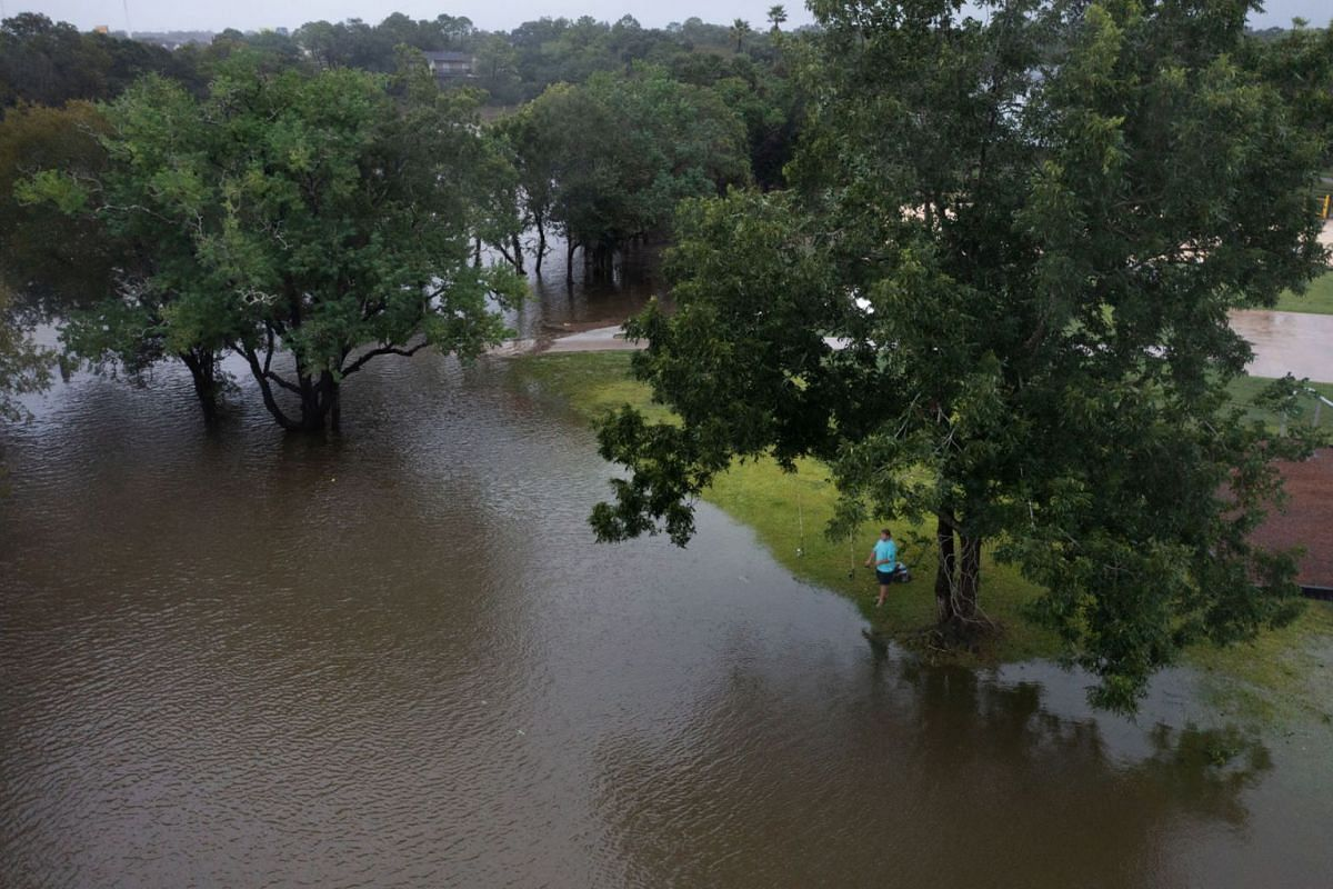 A man fishes under a tree as flood waters surround a neighbourhood in the aftermath of Hurricane Nicholas in League City, Texas, U.S., September 14, 2021.