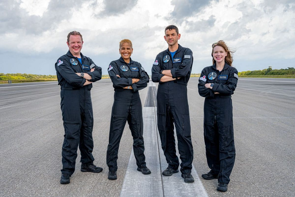 The Inspiration4 crew of Chris Sembroski, Sian Proctor, Jared Isaacman and Hayley Arceneaux poses in this picture obtained by Reuters on September 15, 2021.