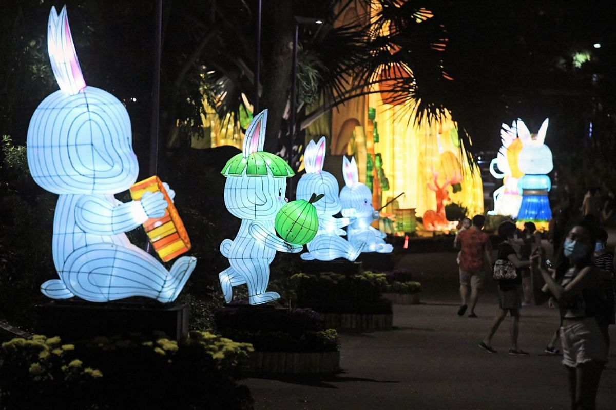 The Rabbits' Trail is a series of rabbit-shaped lanterns in various poses celebrating the mid-autumn festival at Gardens by the Bay as seen in a photo taken on September 15, 2021.