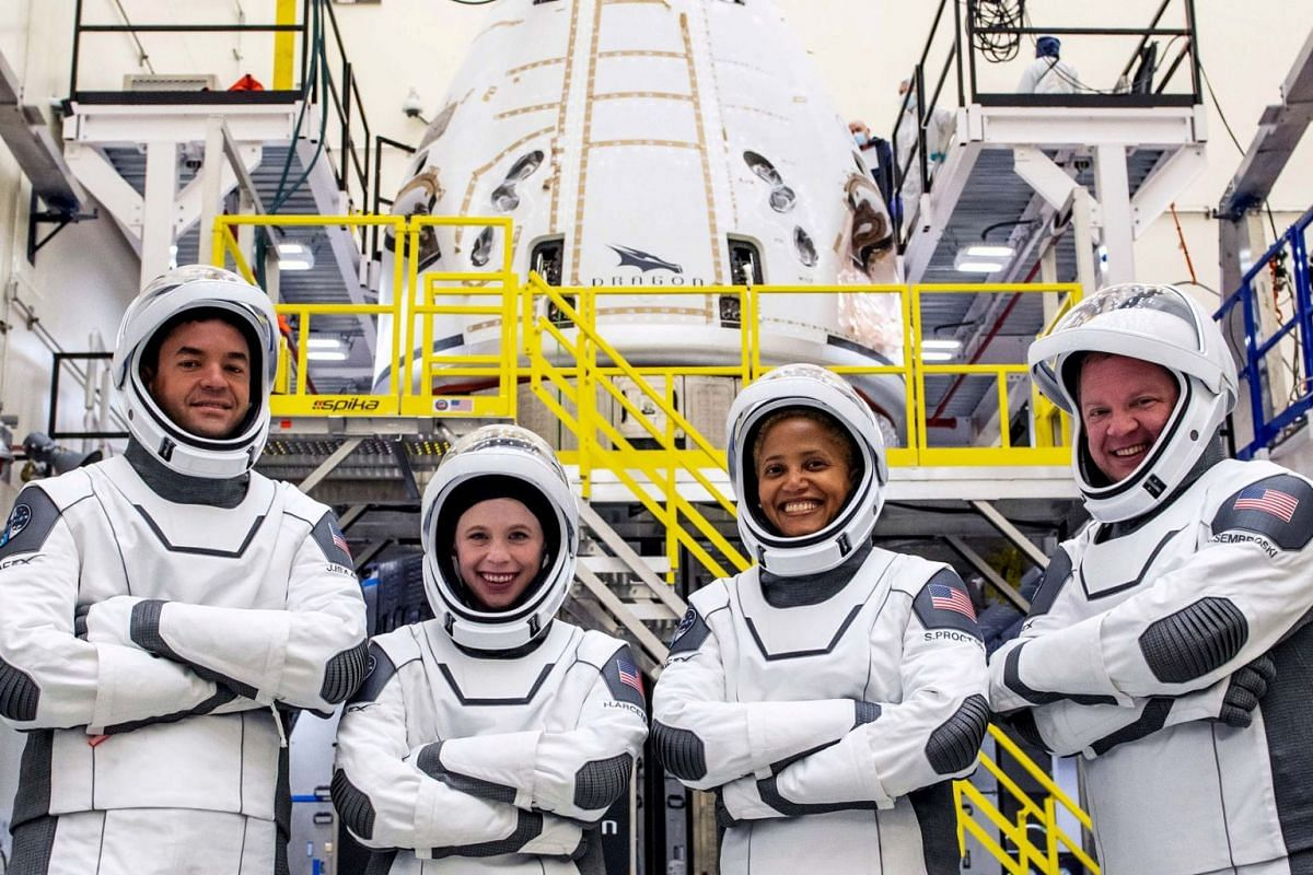 The Inspiration4 crew of Chris Sembroski, Sian Proctor, Jared Isaacman and Hayley Arceneaux poses while suited up in this picture obtained by Reuters on September 15, 2021.