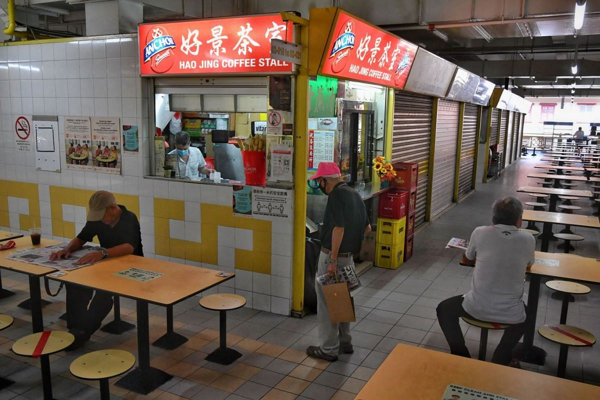 Many of Chinatown Complex's stalls food centre remained shuttered as seen in a photo taken on September 16, 2021. The complex reopened after being closed for 3½ days.